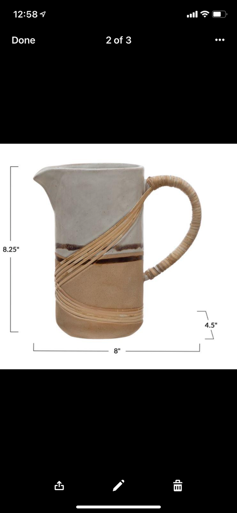 Stoneware Pitcher with Rattan Wrapped Handle, Reactive Glaze