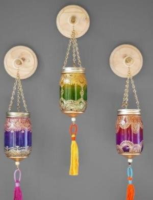 Handpainted Hanging Mason Jars - 3 Colors
