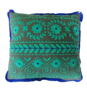 Handmade Rabari Square Pillow - Green/Blue