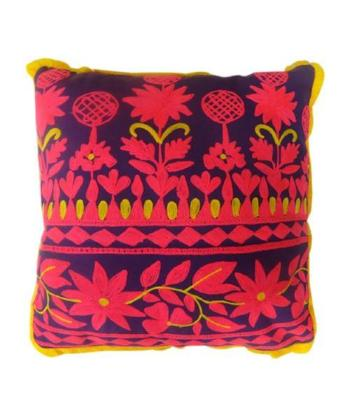 Handmade Rabari Square Pillow - Yellow/Purple/Pink