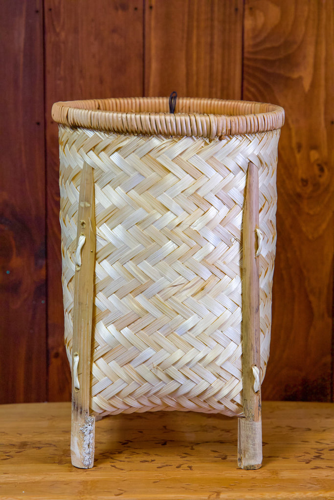 Woven Bamboo Baskets w/ Legs, Natural