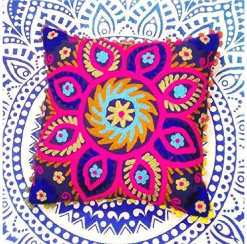 Suzani Embroidered Pillow Cover - Purple/Pink