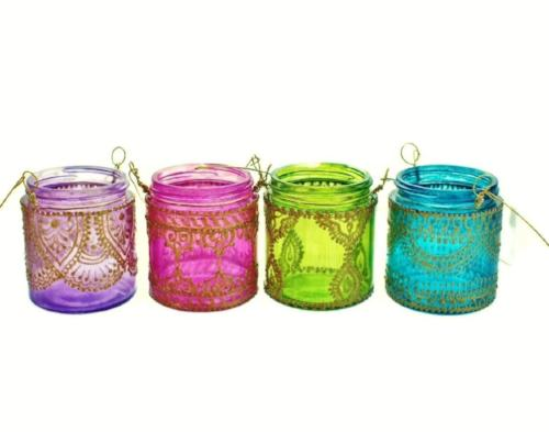 Set of 4 Wanderlust Hanging Tea Candle Lanterns