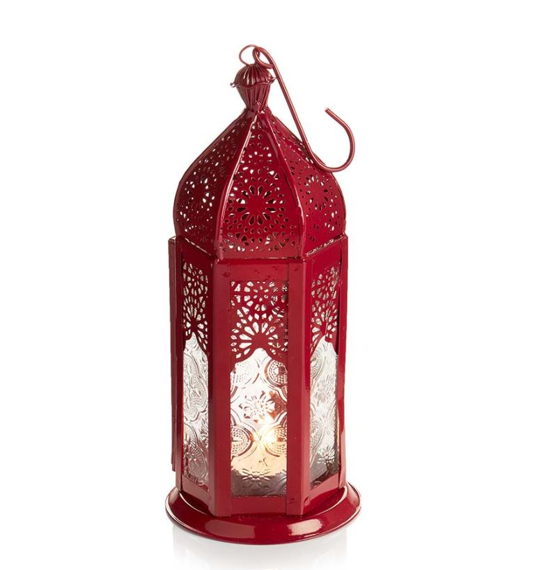 Red Moroccan Metal Lantern - 3 Sizes