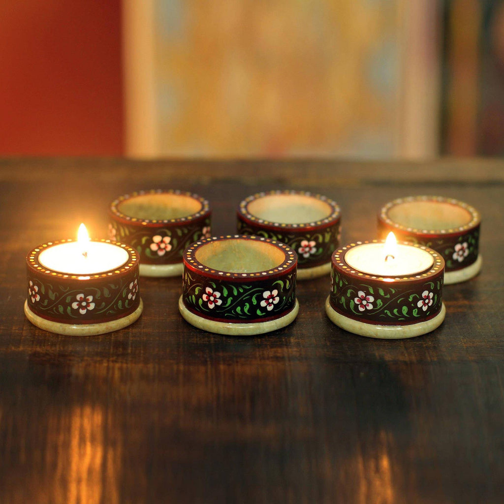 Set of 6 Handmade Floral Soapstone Candle Holders