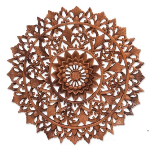Circular Floral Wood Wall Relief Panel from Indonesia