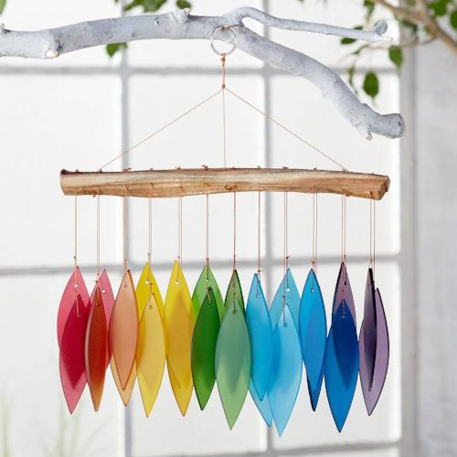Indonesian Rainbow Glass and Driftwood Windchime