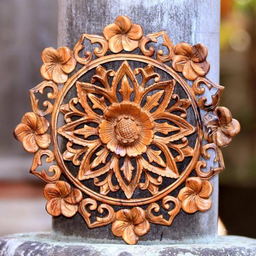 Lotus and Plumeria Blooms Hand Carved Wood Relief Wall Panel