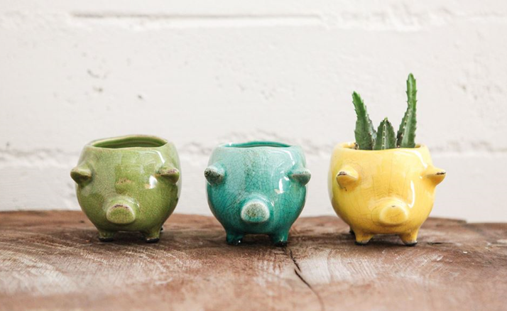 Ceramic Pig Planters - 3 Colors