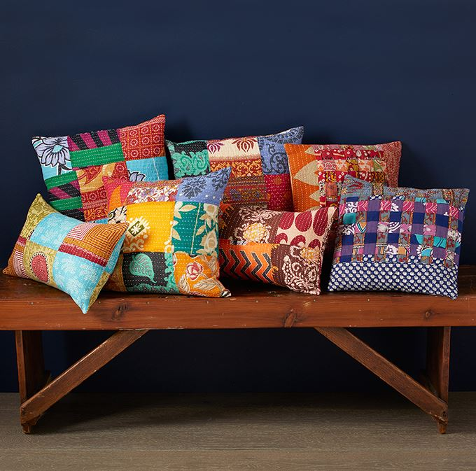 Kantha Basketweave Pillow - 2 Colors