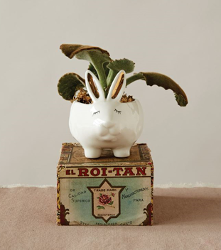 Stoneware Rabbit Planter with Gold Electroplating