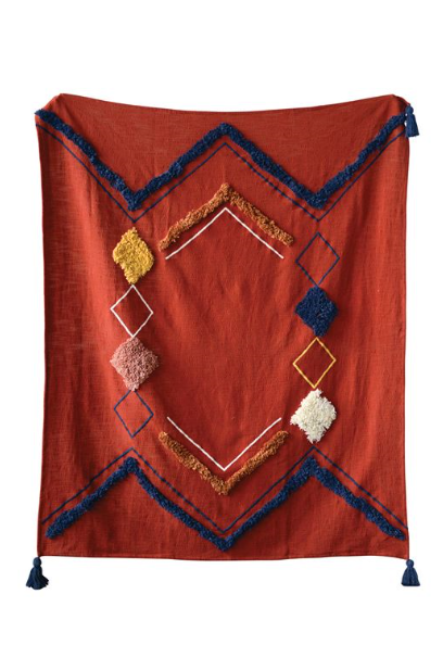 Cotton Embroidered Throw with Fringe & Tassels