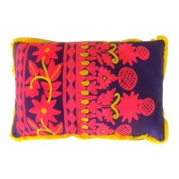 Handmade Rabari Lumbar Pillow - Yellow/Purple/Pink