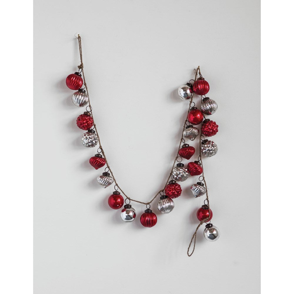 "72""L Embossed Mercury Glass Ornament Garland, Red & Silver Finish"