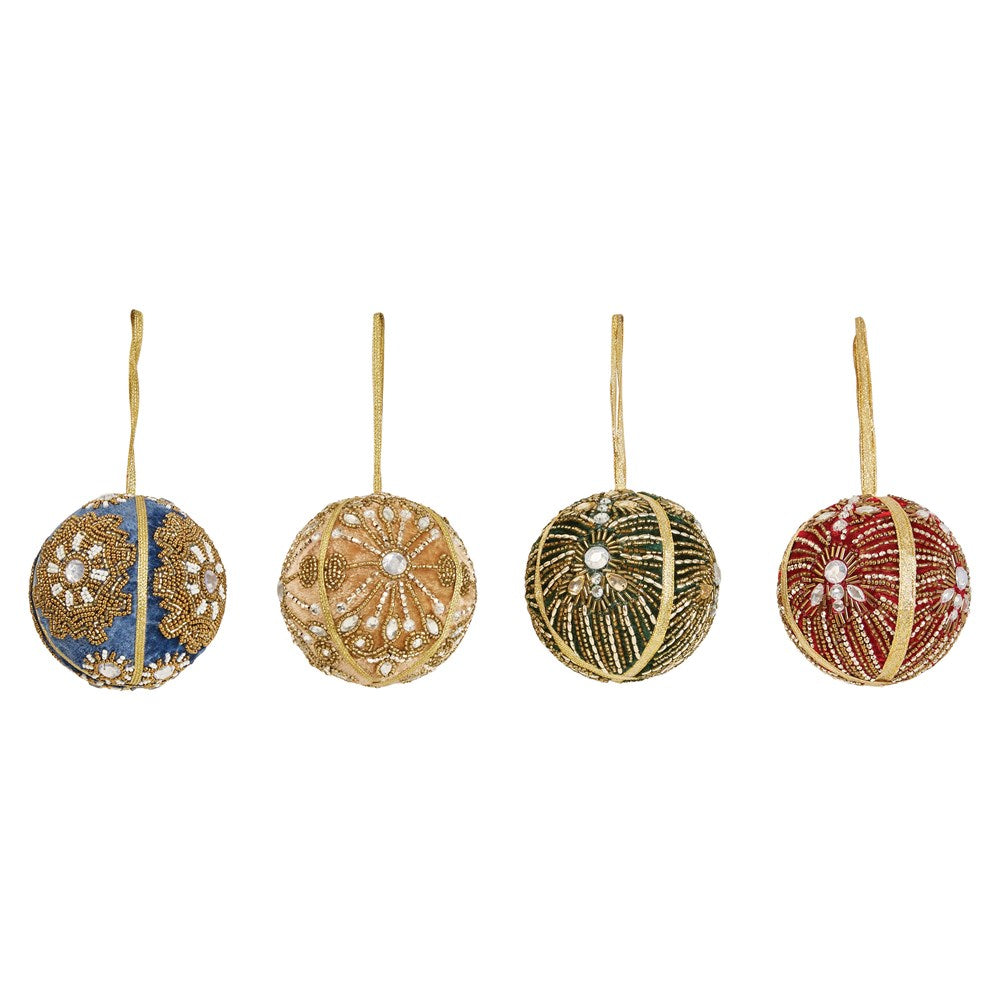 "5"" Round Fabric & Ribbon Embroidered Ball Ornament"
