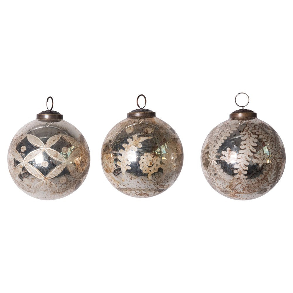 Round Etched Mercury Glass Ball Ornament, Antique Silver, 3 Styles