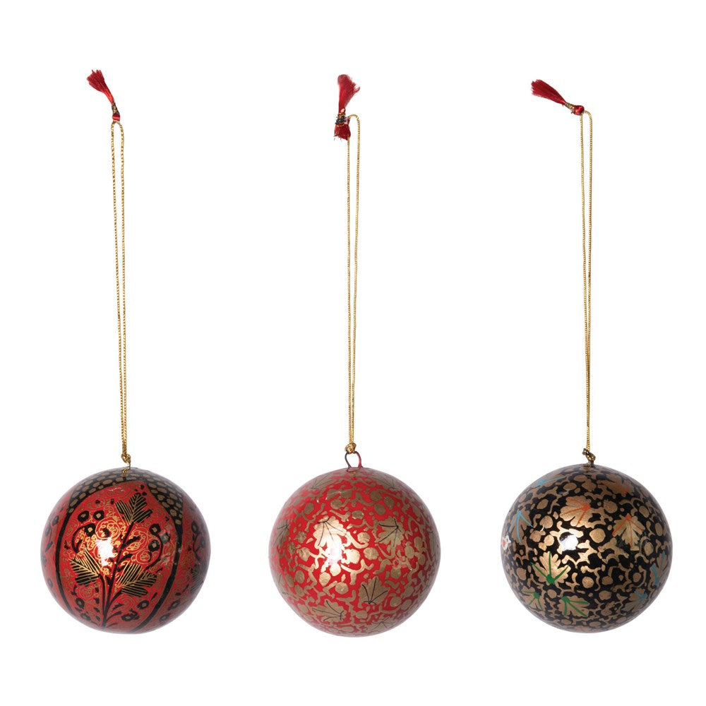 "3"" Round Hand-Painted Paper Mache Ball Ornament, 3 Styles"