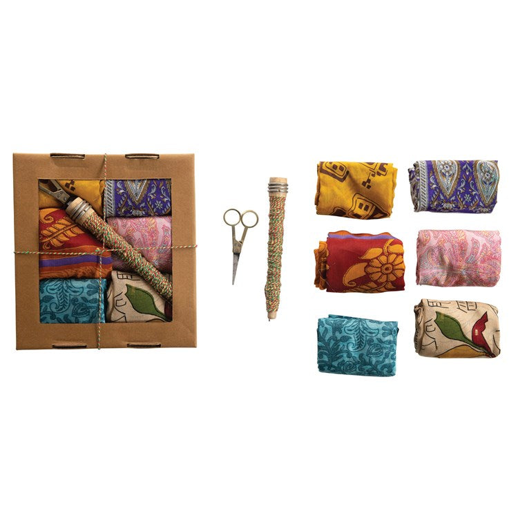 Vintage Silk Sari Fabric Gift Wrapping Kit, Boxed Set of 8