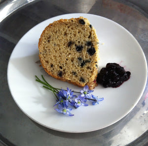Blueberry Breakfast Bundt Cake Made with Maple Run Emporium Pancake Mix