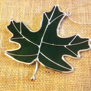 Green Stained Glass Leaf