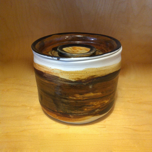 Lidded Crock, Brown/Tan