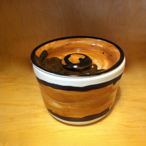 Lidded Crock Orange/Brown