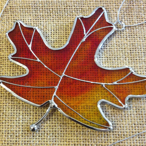 Amber Stained Glass Leaf