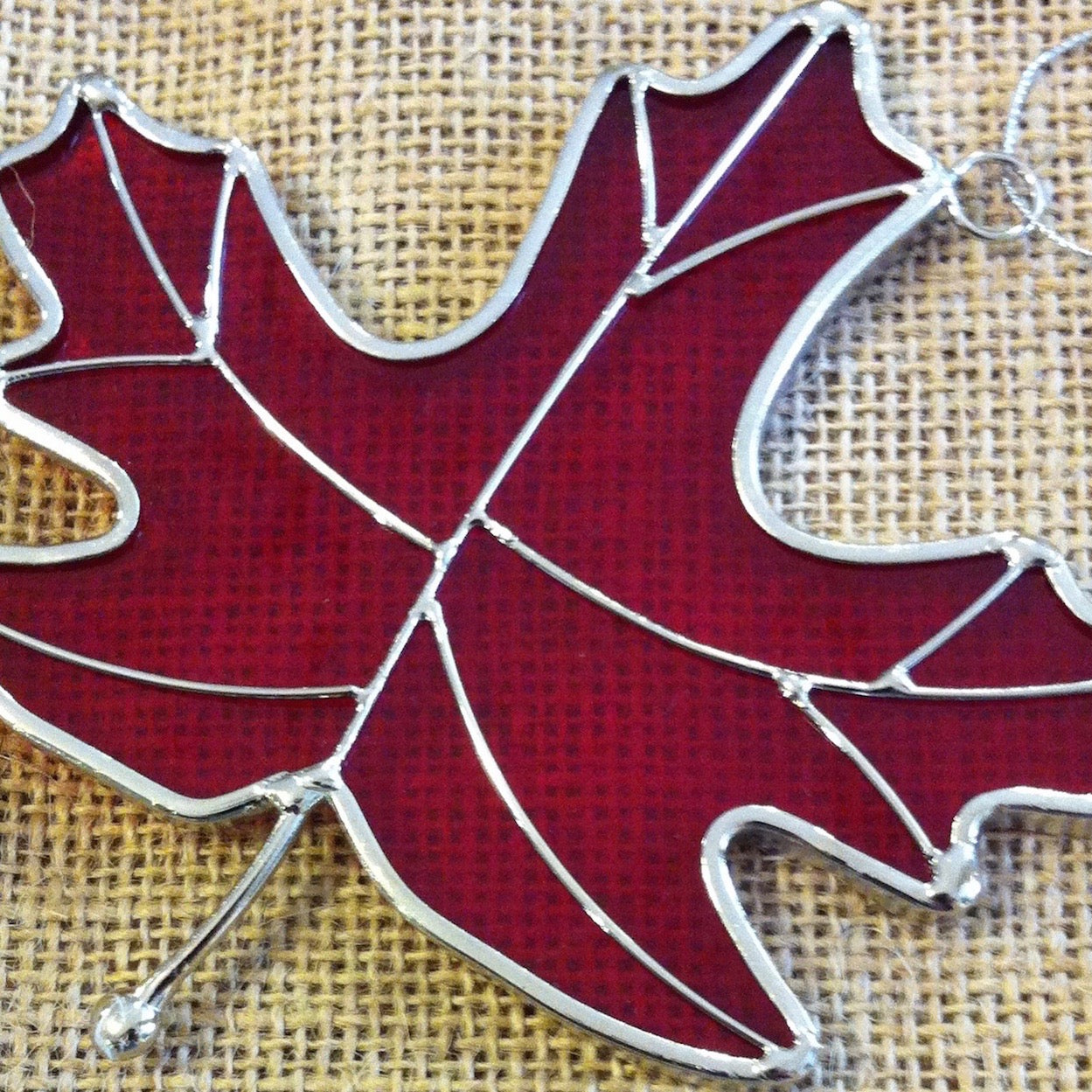 Red Stained Glass Leaf