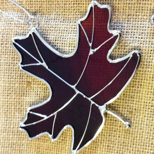 Special Red Stained Glass Leaf