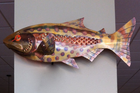 Copper Trout Wall Sconce Handcrafted