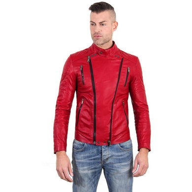 Men's Leather biker Jacket leather biker quilted yoke red color Kevin