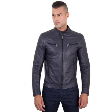 Men's Leather Jacket  korean collar four pockets blue color Hamilton