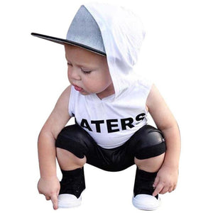 2pcs Boys Hoodded T-shirt+ Shorts Outfit