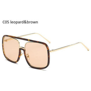 Women's Clear Pink Oversized Square Sunglasses for