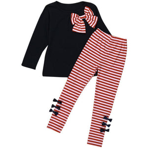 2Pcs  Girls  Long Sleeve Bowknot Dress T-Shirt+Stripe Pants Set