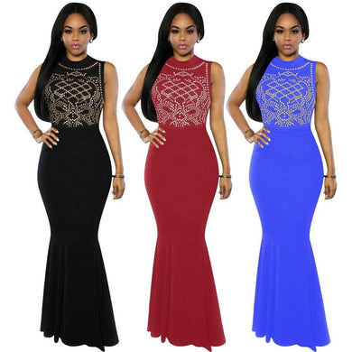 Women's Long Fitted Beading Sleeveless  Evening Party Gown