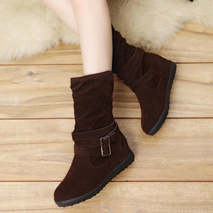 Women's Low Wedge Buckle Biker Ankle Boots