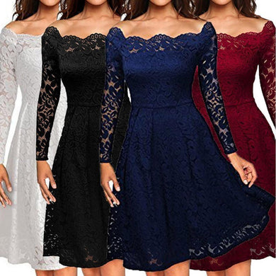 Women's Shoulder Lace Formal  Evening  Dress Long Sleeve Dress