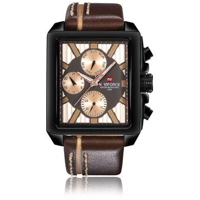 NAVIFORCE Luxury Genuine Leather Quartz Men Watch