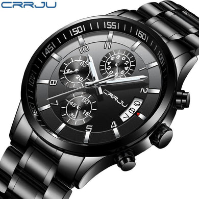 CRRJU Brand Men's Chronograph  Waterproof Watches