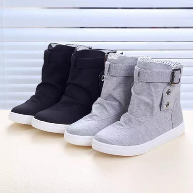 Women's Ankle Boots Flats With Buckle Lace-Up Fashion Canvas Martin Boots
