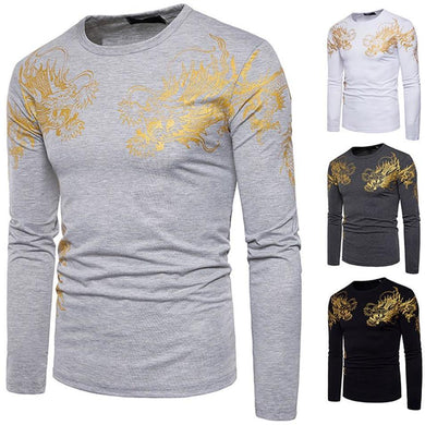 Men's Casual Print Pullover Long Sleeved T-shirt