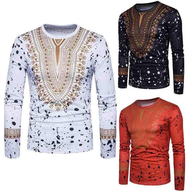 Men's Casual African Print O Neck Pullover Shirt