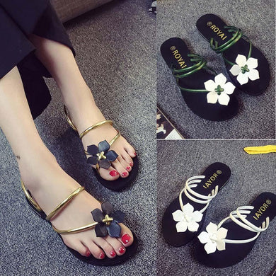 Women Bohemia Lady Flower Weave Sandals Beach Peep-Toe Flip Flops Shoes Slippers