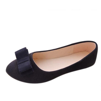 Women Ballet Shoes Work Flats Bow Tie Slip Shoes Boat Comfortable Shoes