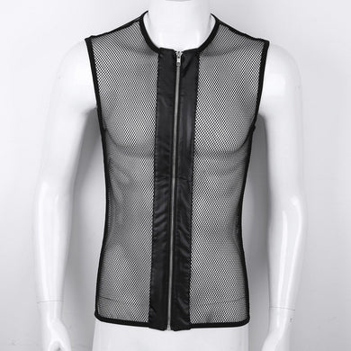 Men's Sleeveless See-through Fishnet Tank Top