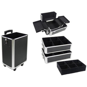 4-in-1 Draw-bar Style Interchangeable Aluminum Rolling Makeup Case Black