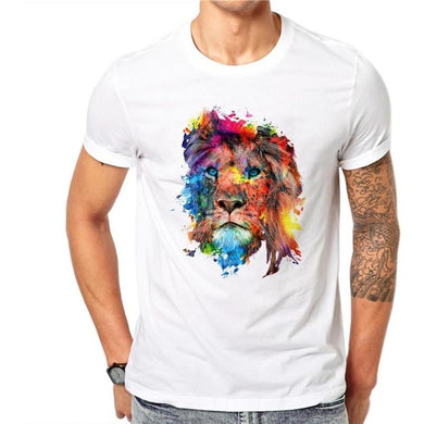 Cotton Colorful Lion Design Men's T Shirts