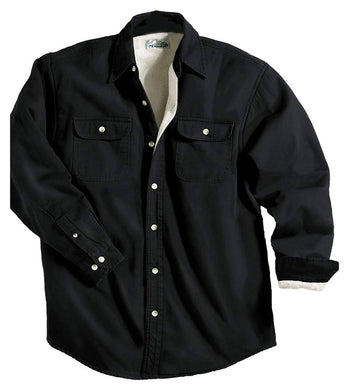 Men's Fleece-Lined Long Sleeve Denim Shirt, X-Small Black