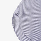 Banded Collar Long Shirt - Blue/White Cotton Narrow Stripe Broadcloth